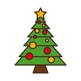Het vrolijke geïsoleerde pictogram van de Kerstmisboom Stock Foto's