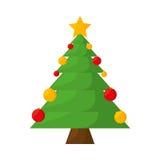 Het vrolijke geïsoleerde pictogram van de Kerstmisboom Royalty-vrije Stock Afbeeldingen
