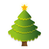 Het vrolijke geïsoleerde pictogram van de Kerstmisboom Royalty-vrije Stock Foto's