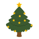 Het vrolijke geïsoleerde pictogram van de Kerstmisboom Royalty-vrije Stock Afbeelding