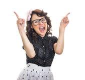 Het vrolijke gelukkige jonge vrouw gesturing Royalty-vrije Stock Foto's
