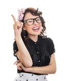 Het vrolijke gelukkige jonge vrouw gesturing Stock Foto's