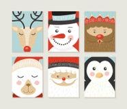 Het vrolijke gezicht van het santaelf van de Kerstmiskaart vastgestelde leuke retro Royalty-vrije Stock Afbeeldingen