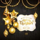 Het vrolijke goud van Kerstmis Stock Fotografie