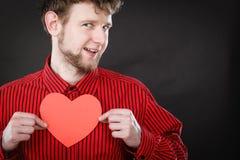 Het vrolijke hart van de mensenholding Stock Foto