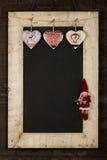 Het vrolijke het Bordbord van Kerstmisnieuwjaren won Houten F terug Stock Fotografie