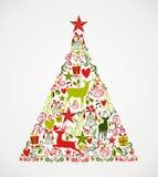 Het vrolijke hoogtepunt van de Kerstboomvorm van elementencompos Stock Foto's