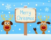 Het vrolijke Houten Teken van Kerstmis Stock Fotografie