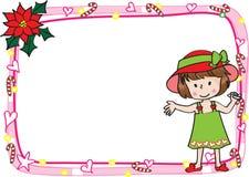 Het vrolijke kader van de Kerstkaartgrens Stock Foto