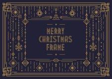 Het vrolijke Kerstkaartmalplaatje met kader en het nieuwe jaarstuk speelgoed de stijlgoud van de art decolijn kleuren vector illustratie