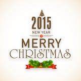 Het vrolijke Kerstmis en Nieuwjaarontwerp van de vieringenaffiche Stock Foto
