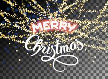 Het vrolijke Kerstmis glanzende goud schittert sneeuwval Royalty-vrije Stock Foto
