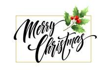 Het vrolijke Kerstmis hand getrokken van letters voorzien met maretaktak vector illustratie