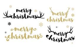Het vrolijke Kerstmis typen met geweitakkenvector Stock Foto's