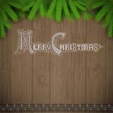 Het vrolijke Kerstmis van letters voorzien op uitstekende houten achtergrond met spar Royalty-vrije Stock Fotografie