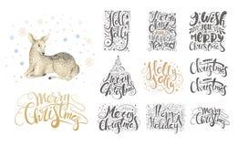 Het vrolijke Kerstmis van letters voorzien over met sneeuwvlokken en herten Getrokken hand stock illustratie
