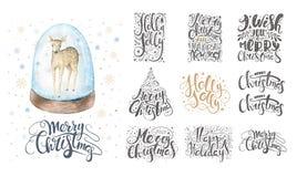 Het vrolijke Kerstmis van letters voorzien over met sneeuwvlokken en herten Getrokken hand vector illustratie