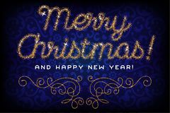 Het vrolijke Kerstmis van letters voorziende goud schittert doopvont Stock Afbeelding