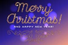 Het vrolijke Kerstmis van letters voorziende goud schittert doopvont Royalty-vrije Stock Fotografie