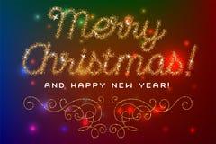 Het vrolijke Kerstmis van letters voorziende goud schittert doopvont Royalty-vrije Stock Afbeeldingen