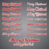 Het vrolijke Kerstmis Vector Van letters voorzien Retro ontwerp Royalty-vrije Stock Foto