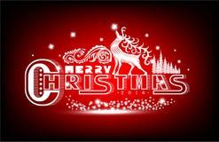 Het vrolijke Kerstmis witte van letters voorzien met patroon en herten op rood Stock Afbeeldingen