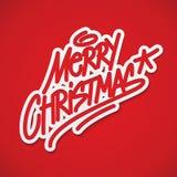 Het vrolijke Kerstmisetiket van letters voorzien Stock Foto