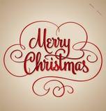 Het vrolijke Kerstmishand van letters voorzien (vector) Royalty-vrije Stock Afbeeldingen