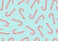 Het vrolijke Kerstmissuikergoed kan naadloos op een blauwe achtergrond vormen Vector stock afbeelding
