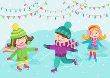 Het vrolijke kinderen schaatsen Stock Foto