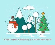 Het vrolijke landschap van de de kaartwinter van de Kerstmisgroet De gelukkige wensen van het Nieuwjaar Affiche in vlakke lijn mo Stock Fotografie