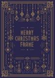 Het vrolijke malplaatje van het Kerstmiskader met nieuwe jaarstuk speelgoed de stijl gouden kleur van de art decolijn Royalty-vrije Stock Foto