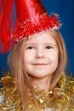 Het vrolijke meisje in een rood GLB Royalty-vrije Stock Foto