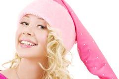 Het vrolijke meisje van de santahelper royalty-vrije stock fotografie