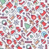 Het vrolijke naadloze patroon van de Kerstmisviering royalty-vrije illustratie