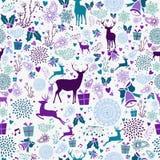 Het vrolijke naadloze patroon van het Kerstmis uitstekende element Royalty-vrije Stock Fotografie