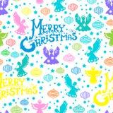 Het vrolijke naadloze patroon van Kerstmis Stock Afbeeldingen