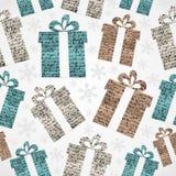 Het vrolijke naadloze patroon van Kerstmis uitstekende giften grunge. Royalty-vrije Stock Foto's
