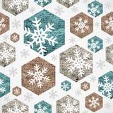 Het vrolijke naadloze patroon van Kerstmis uitstekende sneeuwvlokken grunge. Royalty-vrije Stock Fotografie