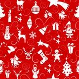 Het vrolijke naadloze patroon van Kerstmispictogrammen. Stock Fotografie