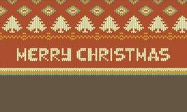 Het vrolijke ontwerp van de Kerstmis Grafische illustratie, gebreide Kerstmisillustratie stock fotografie