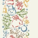 Het vrolijke ontwerp van het Kerstmishand getrokken naadloze patroon Royalty-vrije Stock Foto's
