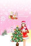 Het vrolijke pictogram van de Kerstmisboom van een sneeuwvlokontwerp - illustratie eps10 Stock Afbeeldingen