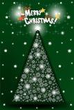 Het vrolijke pictogram van de Kerstmisboom van een sneeuwvlokontwerp - illustratie eps10 Stock Foto's