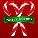 Het vrolijke Riet van het Suikergoed van Kerstmis Royalty-vrije Stock Foto's