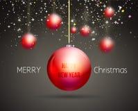 Het vrolijke in rode goud van het Kerstmis Gelukkige Nieuwjaar Royalty-vrije Stock Afbeelding