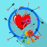 Het vrolijke slot van de valentijnskaartdag Royalty-vrije Stock Afbeelding