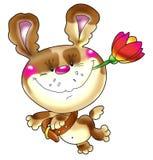 Het vrolijke spotty puppy hast Stock Afbeelding