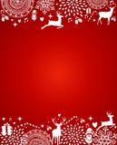 Het vrolijke van het de prentbriefkaarmalplaatje van Kerstmiselementen rode vectordossier. royalty-vrije illustratie
