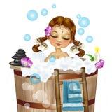 Het vrouwelijke cijfer neemt een bad Royalty-vrije Stock Foto